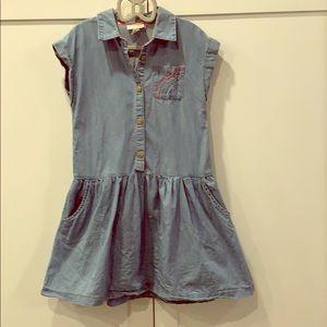 Blue denim-style shirtdress with rainbow pocket